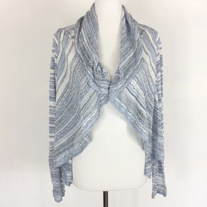 Knitted & Knotted Cardigan Medium Open Front Blue